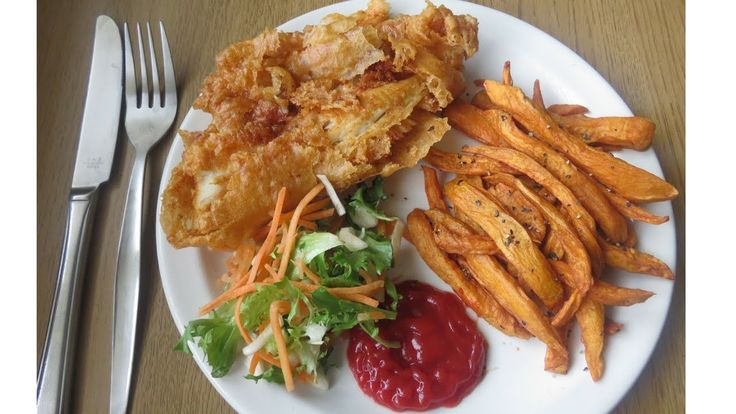 Beer Battered Spicy Fish With Sweet Potato Chips
