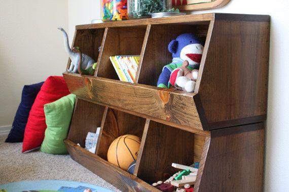 Toy Storage Bin Shelves Woodworking Plans van irontimber op Etsy