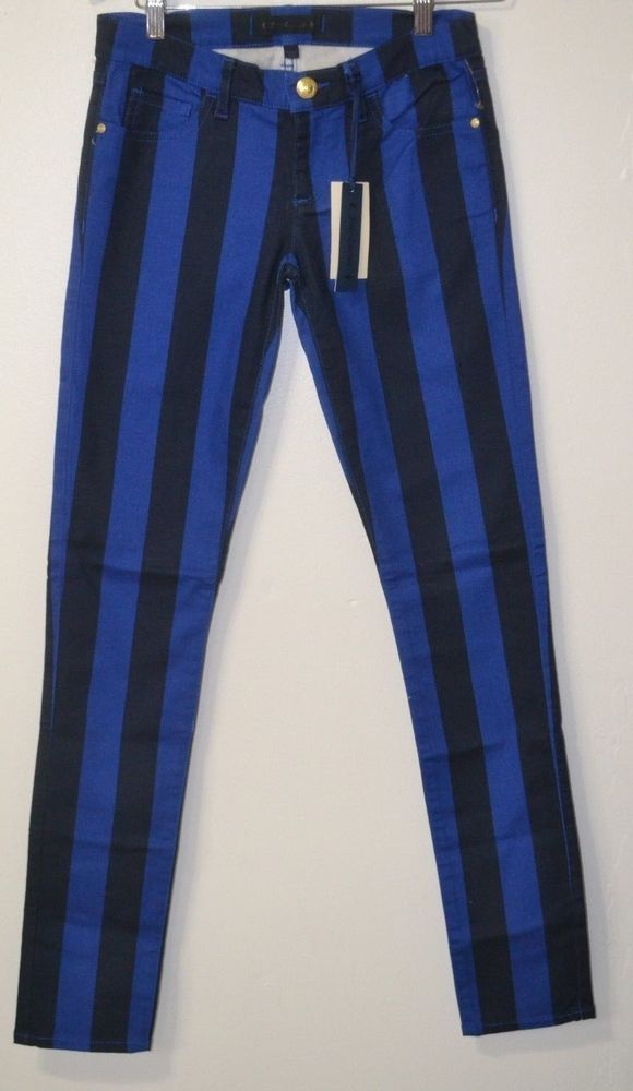 NWT JUICY COUTURE Blue/Black striped  super Skinny Women's jeans Sz 25 Fashion #JuicyCouture #SlimSkinny
