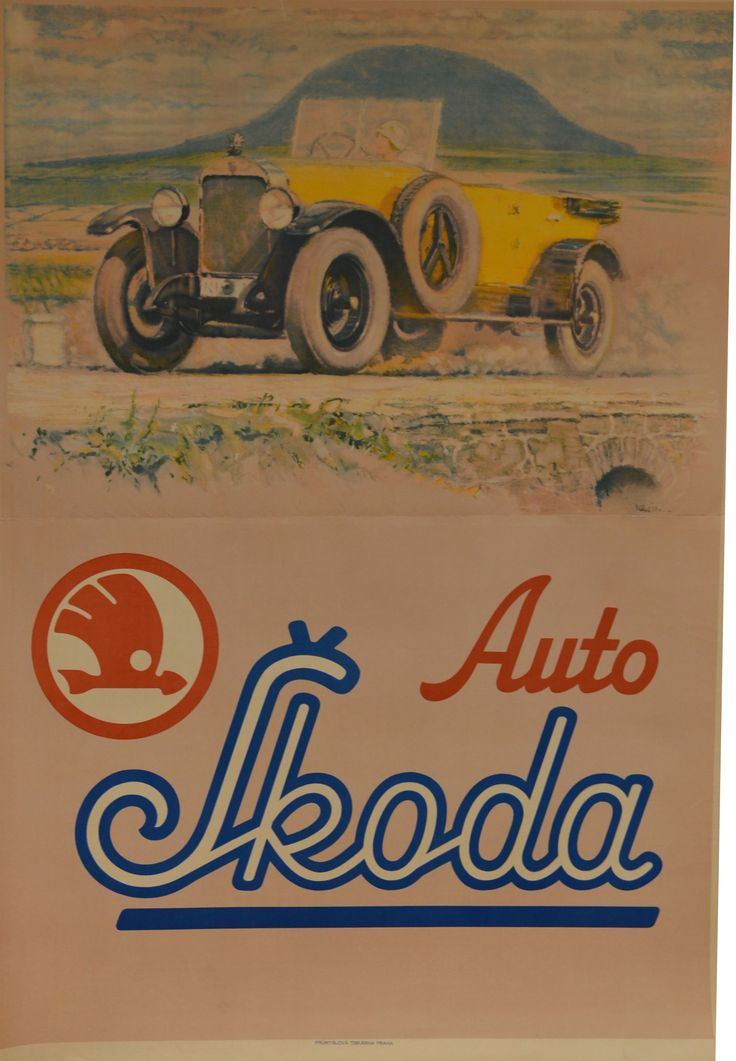 Auto škoda car vintage poster