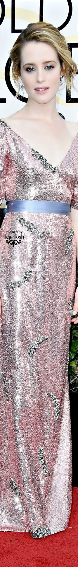 ❇Téa Tosh❇ Claire Foy, wearing a sparkling Erdem gown with Fred Leighton jewels and Nicholas Kirkwood shoes.
