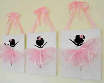 Dancing Ballerinas Pink Wall Art. by FlorasShop on Etsy