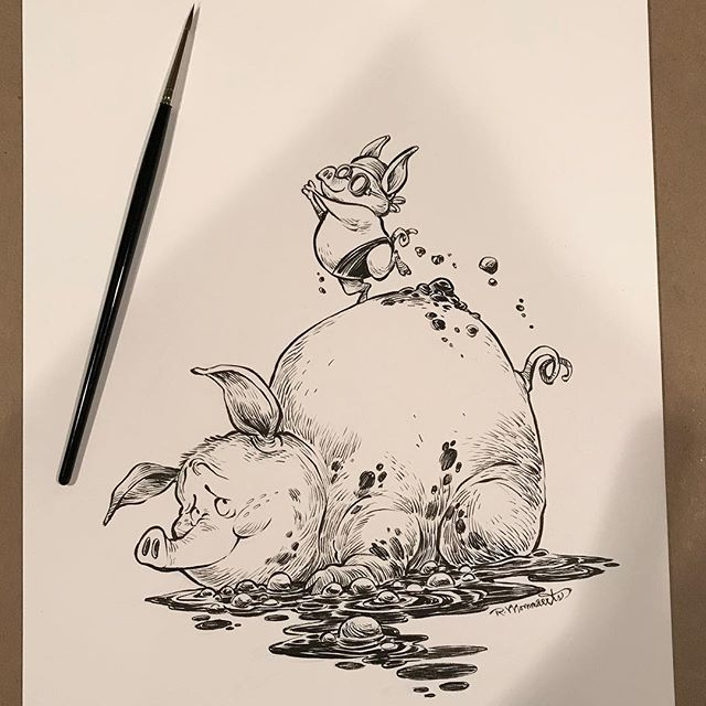 """Getting there slowly…my latest drawing for #inktober2017. The prompt word is """"FILTHY"""" for Day eighteen. Please check out my new art book Kickstarter, """"INK TANK"""" with @forgepublishing, spread the word!  https://www.kickstarter.com/projects/forgepublishing/ink-tank-the-art-of-robb-mommaerts  #inktober #inktober2017 #inktank  #inkdrawing #brushinks #robbmommaerts #forgepublishing #mud #pig #piglet #diving #mudbath #dirty #pork #farm #handdrawn"""