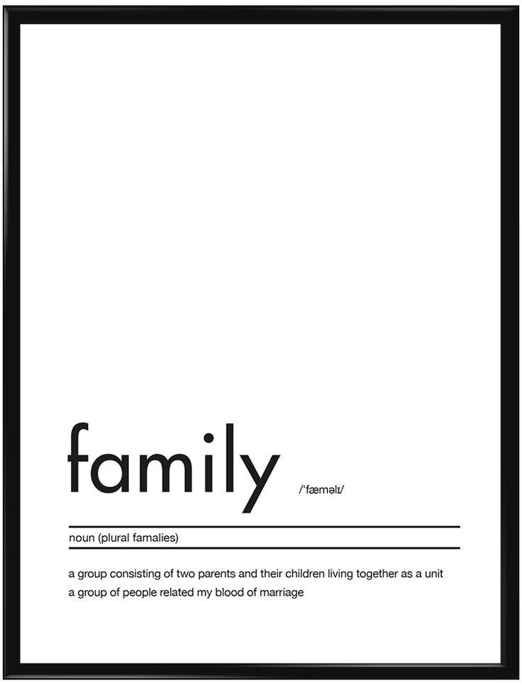 """Texttavla med en förklaring av ordet """"Family"""". Passar bra i vardagsrummet…"""