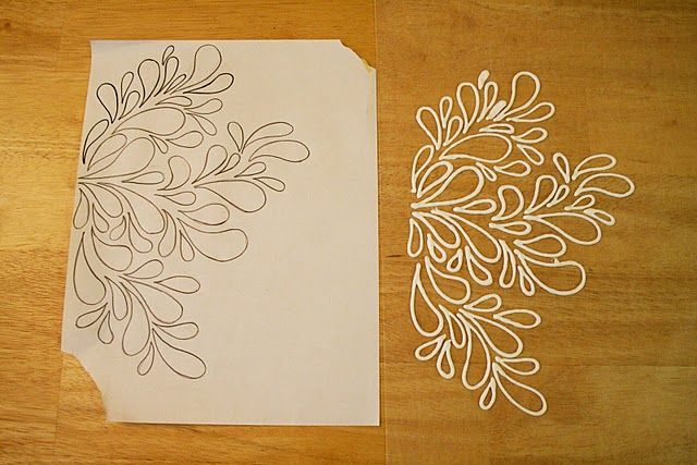 Print out a pattern you like, place a sheet of wax paper over it and trace the pattern with puffy paints.  When it dries peel it off the wax paper and apply it to it's permanent surface. #DIY