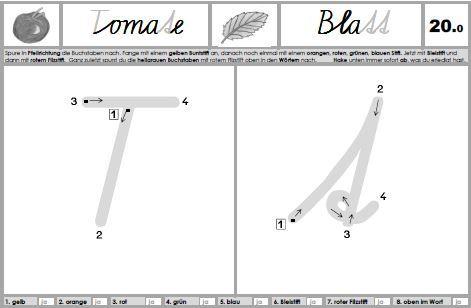 Schreiblehrgang SAS - intensives Training des Einzelbuchstabens durch 8-maliges Nachspuren.