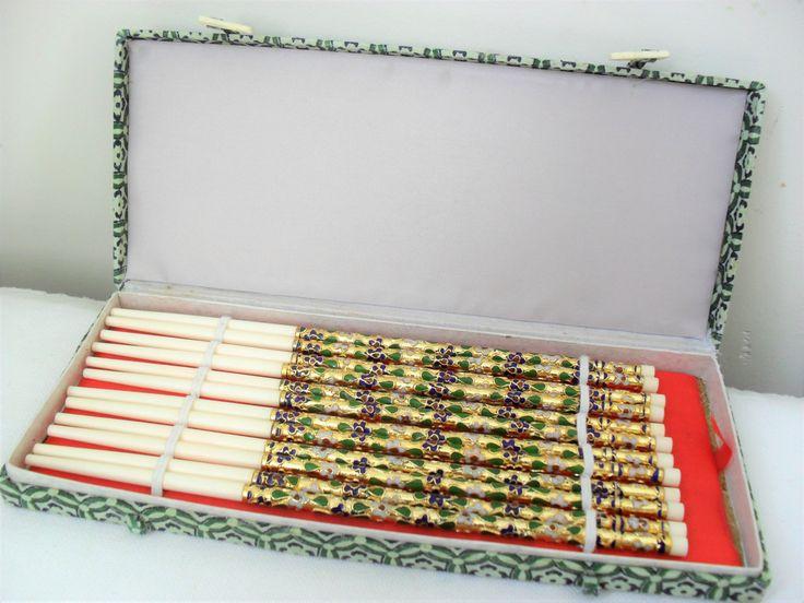 Cloisonne CHOPSTICKS Set of SIX PAIRS Vintage Chopsticks Asian Decor Boxed Chopsticks Gift Oriental Dining Enamel & Metal OrientalFabric Box by BigGirlSmallWorld on Etsy