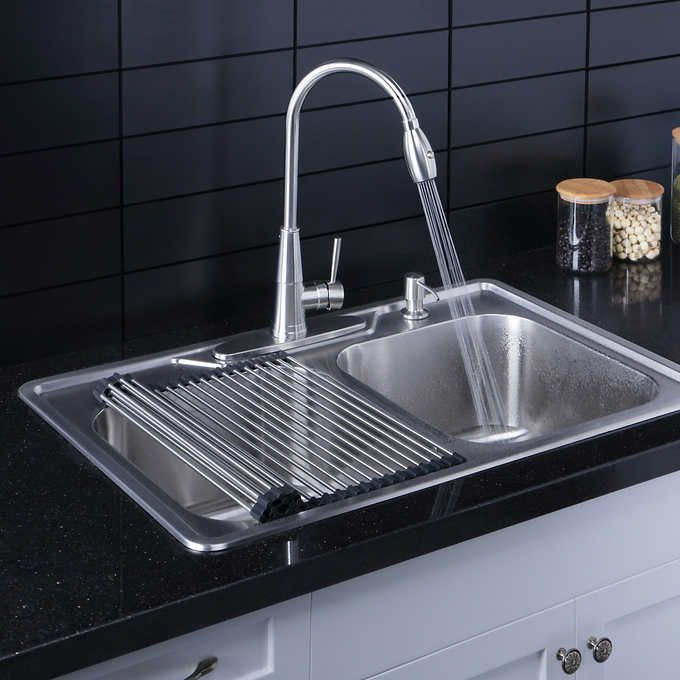 Afa Stainless Double Bowl 33 Dual Mount Kitchen Sink Faucet