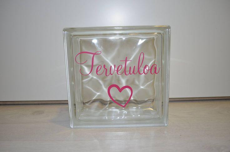 Tervetuloa - pink sisustuslasitiili 190x190 sis. reikä valoja varten