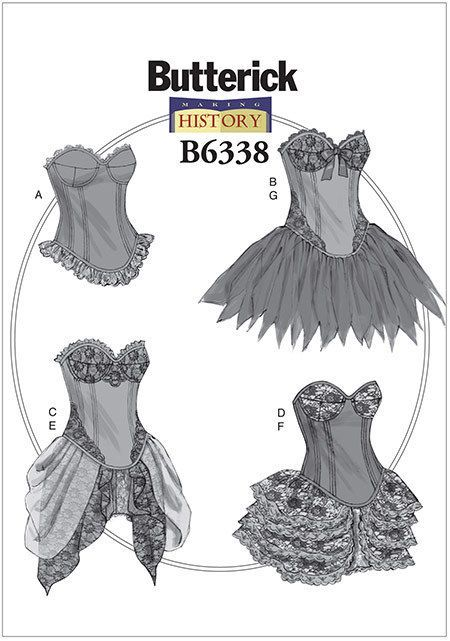 Butterick 6338 Victorian Corset Boned Underskirt Steampunk Sewing Pattern B6338 in Crafts, Sewing & Fabric, Sewing   eBay