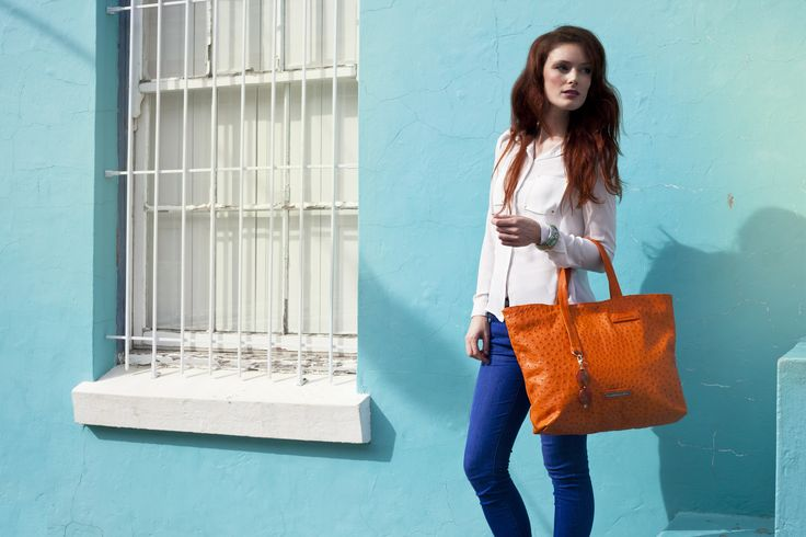 Orange Ostrich Leather Juliet Bag #jennifermiddletonbags #luxurydesignerhandbags www.jennifermiddletonbags.com