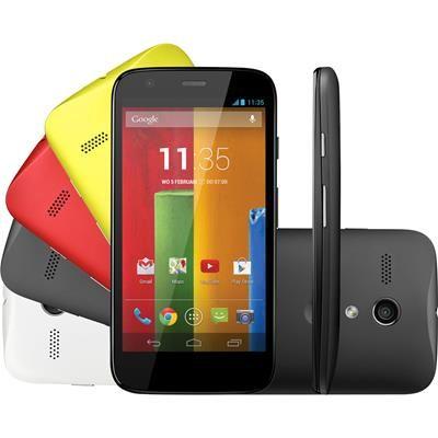 "Smartphone Motorola XT1033 Moto G Colors, 3G Dual Chip Android 4.3 Quad Core 1.2GHz 16GB 5MP Tela 4.5"""