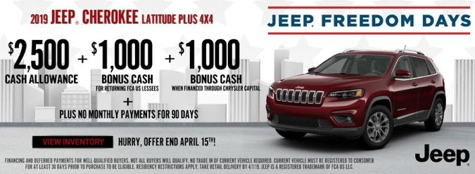 Visit Antioch Jeep During Jeep Freedom Days Save Big When Leasing The 2019 Jeep Cherokee Plus 4x4 Near Waukegan S Jeep Cherokee New Jeep Cherokee Jeep