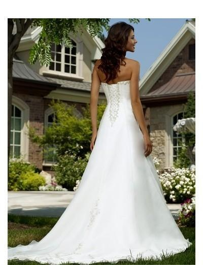 Strapless Empire Bodice with A line Skirt Summer Wedding Dress WD-0088