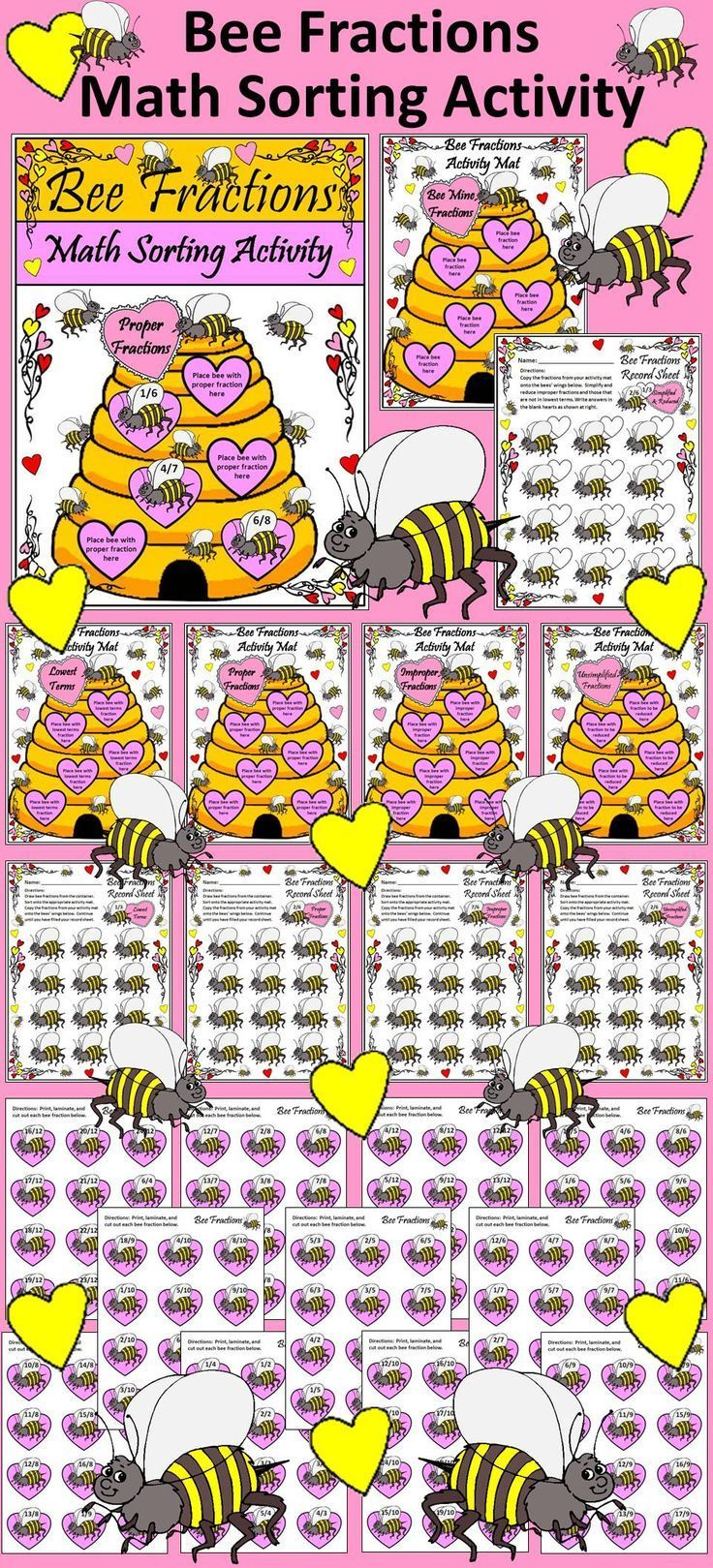 Bee Fractions Math Sorting Activity: This Valentine's Day Math center activity reinforces the difference between proper, improper, simplified, unsimplified, and lowest terms fractions.  Contents include: * 5 Different Valentine's Day Math Bee Fractions Ac