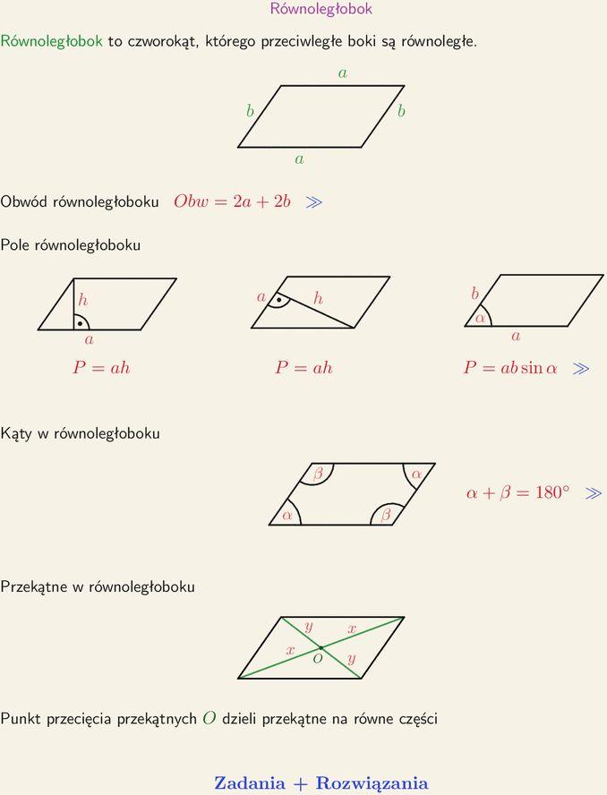 Równoległobok, wzór na pole, obwód i kąty w równoległoboku, punkt przecięcia przekątnych