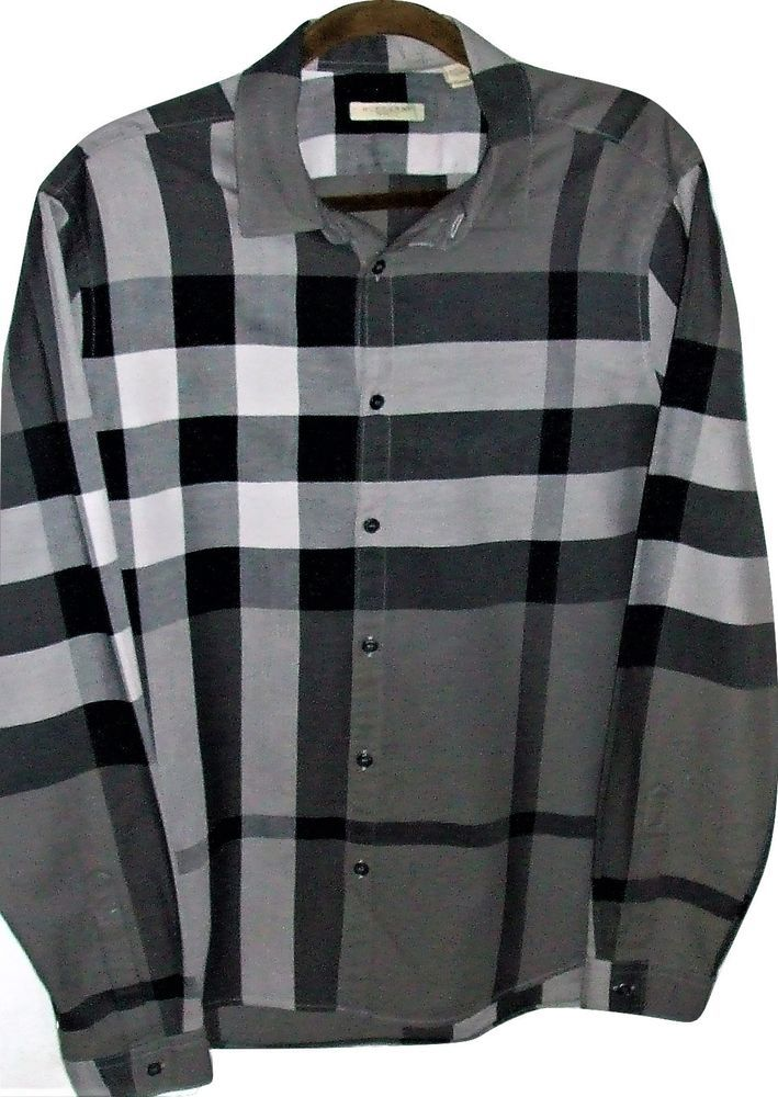 Burberry Brit Men's Exploded Large Black & Gray Nova Check L/S Casual Shirt #BurberryBrit #ButtonFront