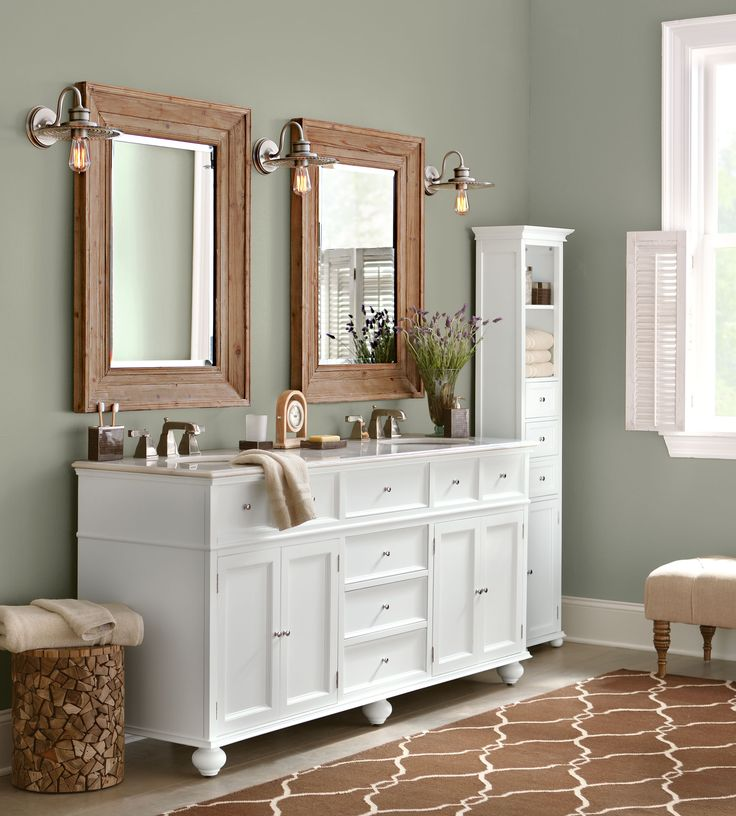 Photo Gallery Website Large mirrors above a simple white bath vanity make a great impact and enlarge the space