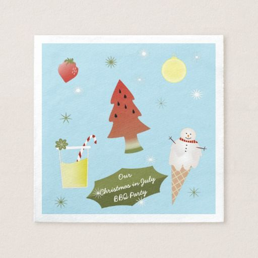 Christmas in July BBQ Party Custom Napkins