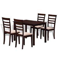 vidaXL Braun-Creme Stabiles Esstisch-Set mit 4 Stühlen
