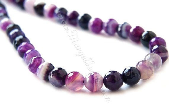 €5.00 1 Strand Purple Lilac Striped Agate Faceted Round by Margelbeads