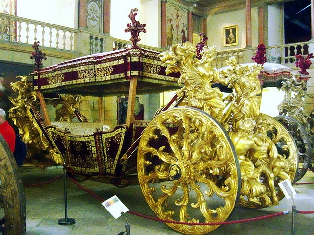 Royal Coach from the Royal Coach Museum collection in Belem, Portugal```