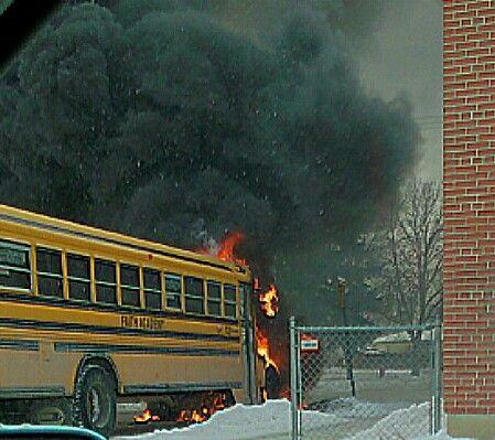 School bus on fire nw Winnipeg