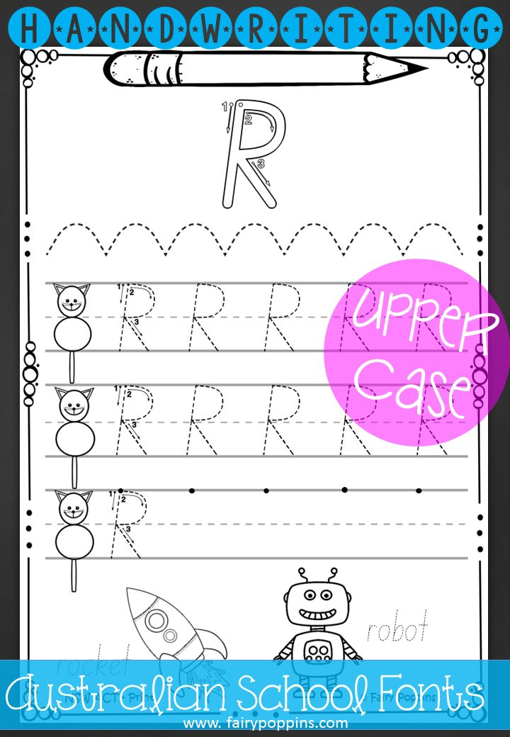 Handwriting worksheets. Upper case letters in print and pre-cursive ...