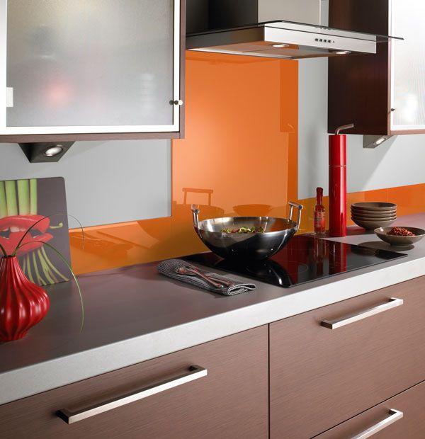 Orange glass kitchen splashback
