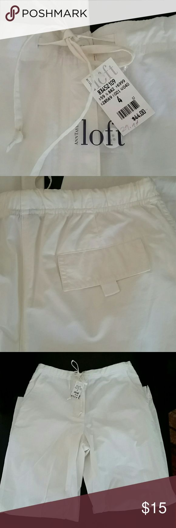 Ann Taylor Loft white cotton pants Cute Ann Taylor Loft cotton pants with drawstring and 1 back pocket Ann Taylor Loft  Pants Wide Leg