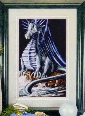 Вышивка крестом. Синий дракон