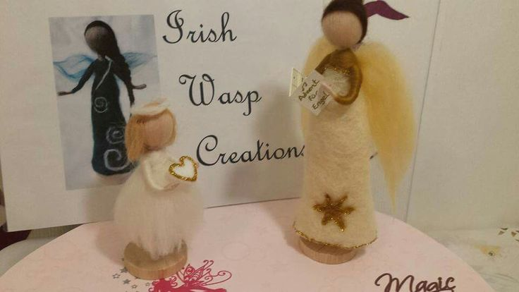 Hand felted Christmas Angels. For more check out the Irish Wasp Creations Facebook page.