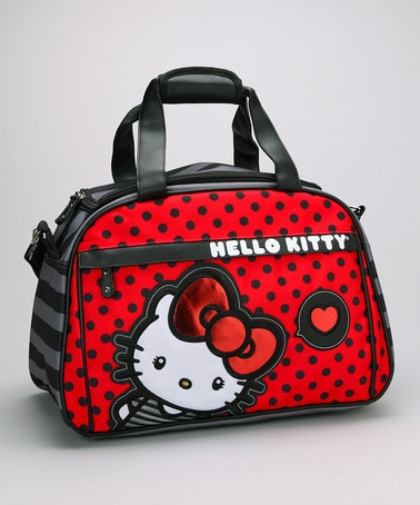 Take a look at this Red & Black Polka Dot Hello Kitty Weekender by Hello Kitty on #zulily today!