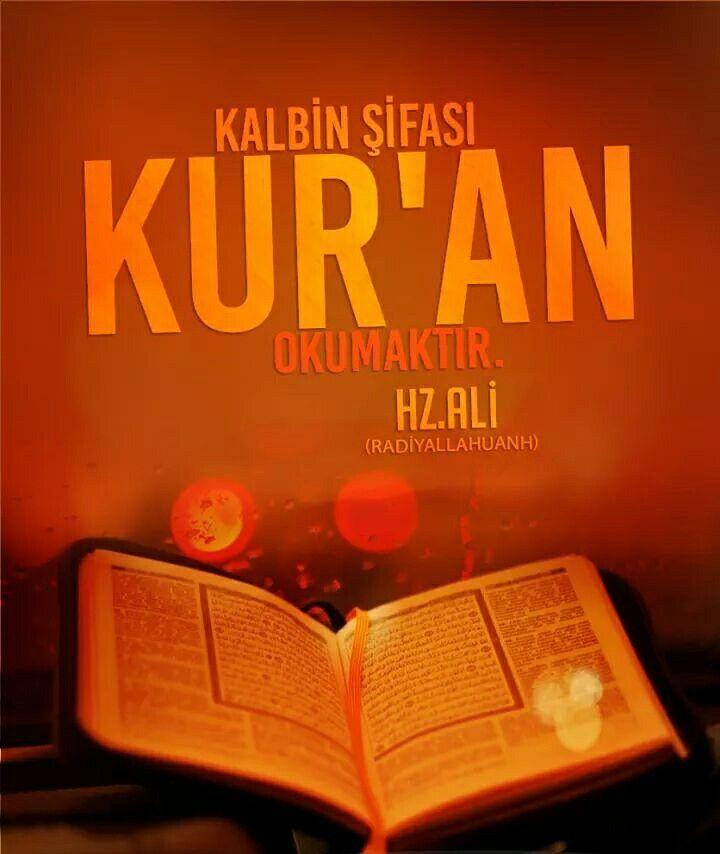 Kalbin şifası Kur'an okumaktır.    Hz. Ali (Radiyallahu anh)  #kalp #şifa #kuran #oku #söz #hzali #sözler #islam #müslüman #dünya #ramazan #oruç #ilmisuffa