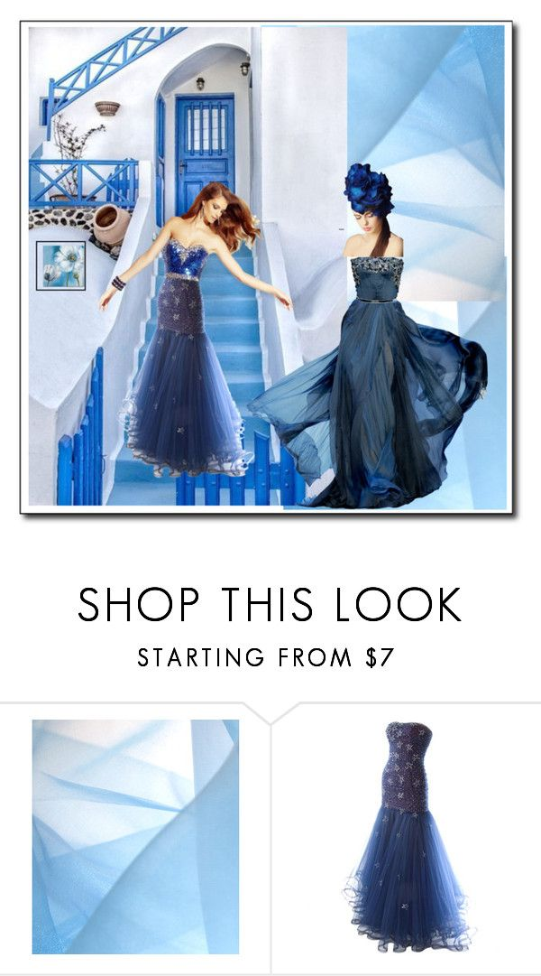 """""""My world is blue"""" by ell-dee ❤ liked on Polyvore featuring Murray Arbeid, Elie Saab and Trademark Fine Art"""