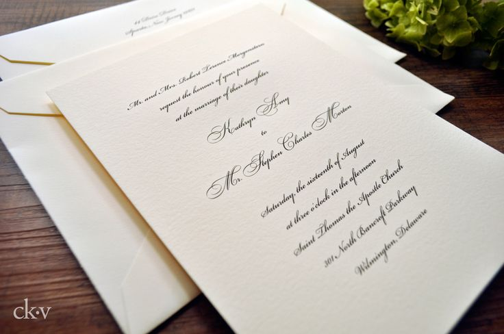 Traditional engraved wedding invitations in black script on heavy ivory cotton card with double envelopes by Catherine Kiff-Vozza, Couture Stationer
