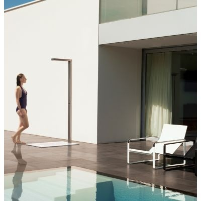 This minimalist outdoor shower by Tribu is a complement to any luxurious outdoor setting.  www.marlanteak.com