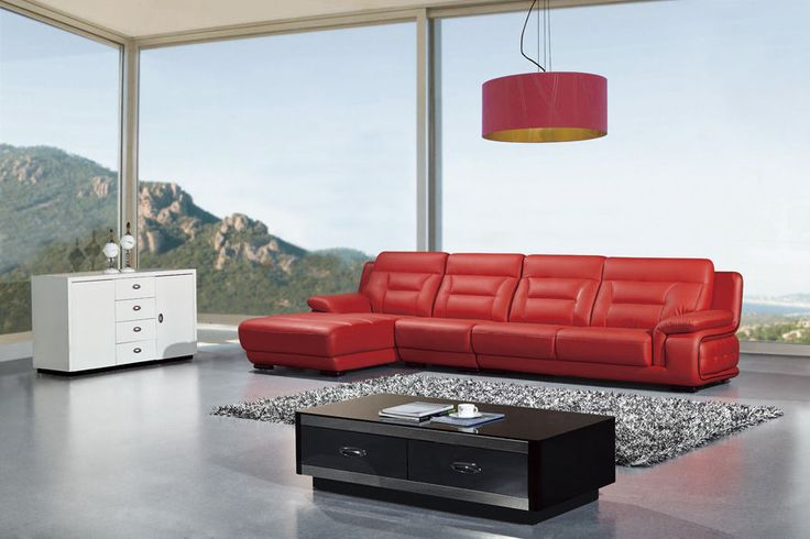 3 PC Modern Contemporary Red Leather Sectional Sofa Chaise Chair Set