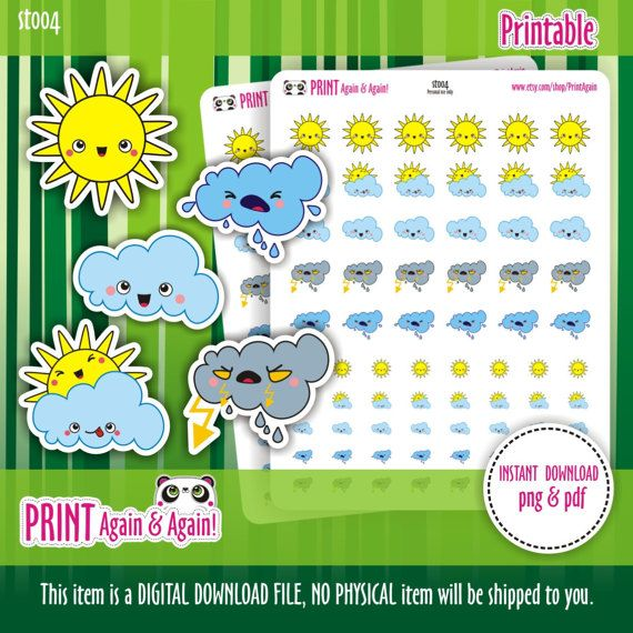Weather Stickers Sun stickers Printable Planner by PrintAgain
