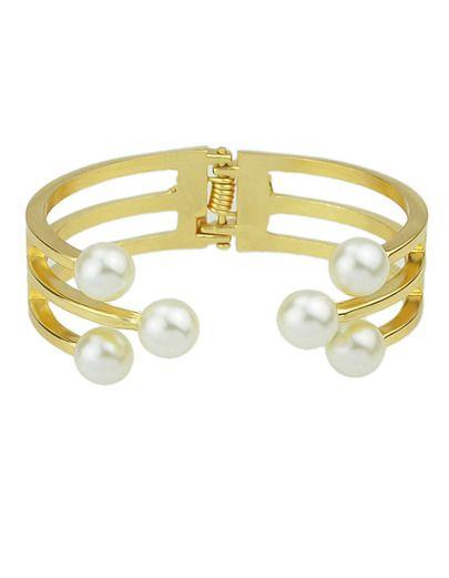 Cheap Alloy Fake Pearl Cuff Bracelet