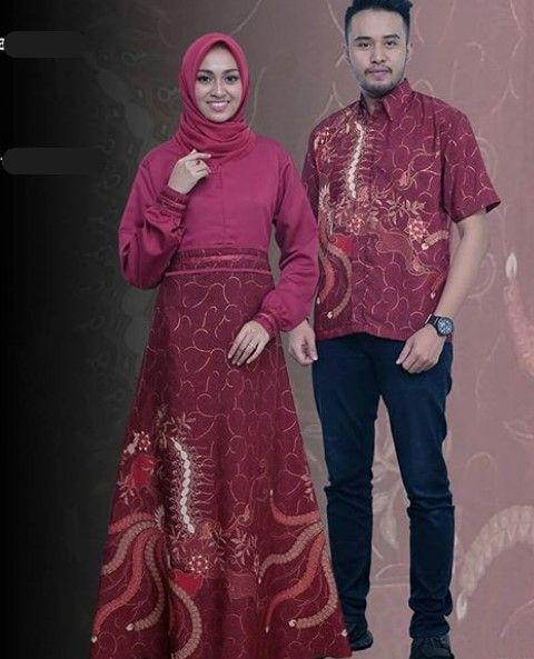 Model Baju Gamis Batik Kombinasi Kain Polos Modern Merah Maroon