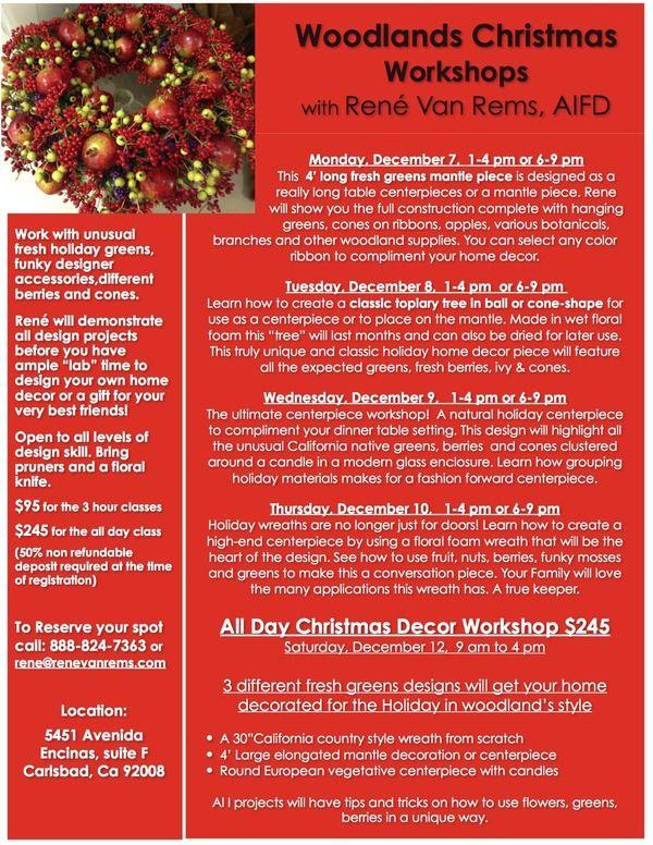 Christmas floral workshop with Rene van Rems AIFD