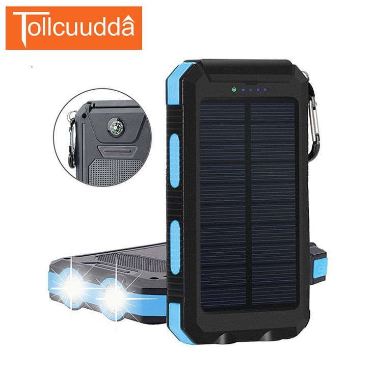 TOLLCUUDDA  8000mah Waterproof Solar Power Bank Solar Mobile Charger 2 USB Power with Compass LED Light poverbank for iPhone  #Affiliate