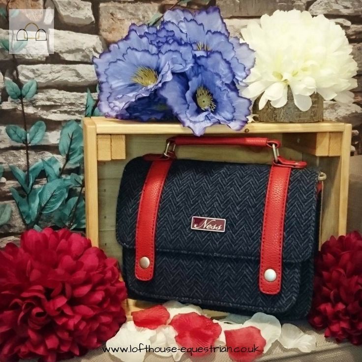 Stay classic with this gorgeous small satchel bag from Ness in Herringbone Blue! #classic #handbag #ness #lofthouseequestrian