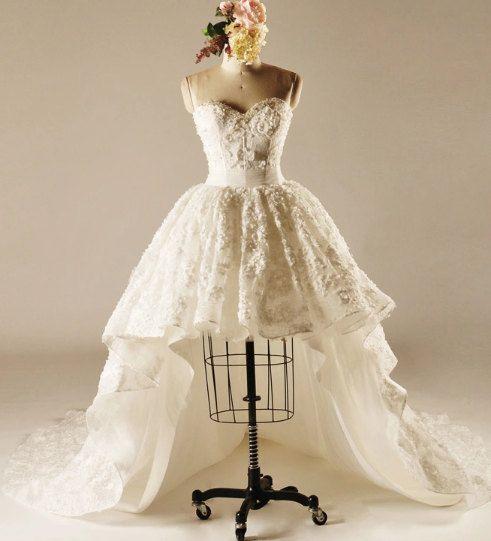 Asymmetrical Lace Wedding Dress.Unique Wedding Dress.short Wedding Dress.Pearls Sequins Wedding dress.high low Dress.corset back.ball gown