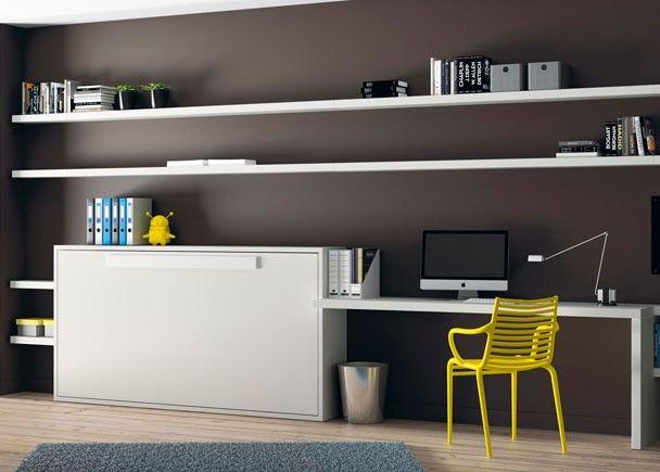 dormitorio juvenil con cama abatible horizontal y mesa estudio con estanterias a pared