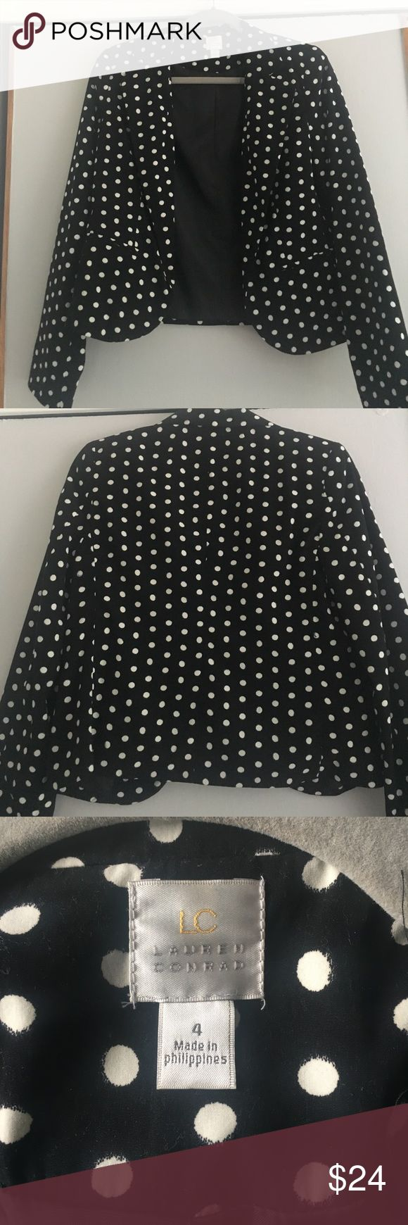 Fun polka dot blazer! Black and white Lauren Conrad polka dot blazer - great over a dress for work or with jeans for a night out! LC Lauren Conrad Jackets & Coats Blazers