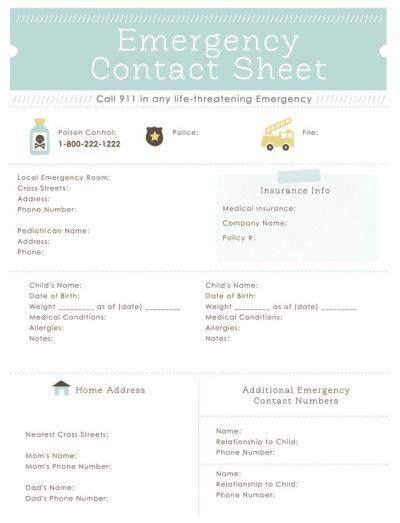 Printable Emergency Contact Sheet