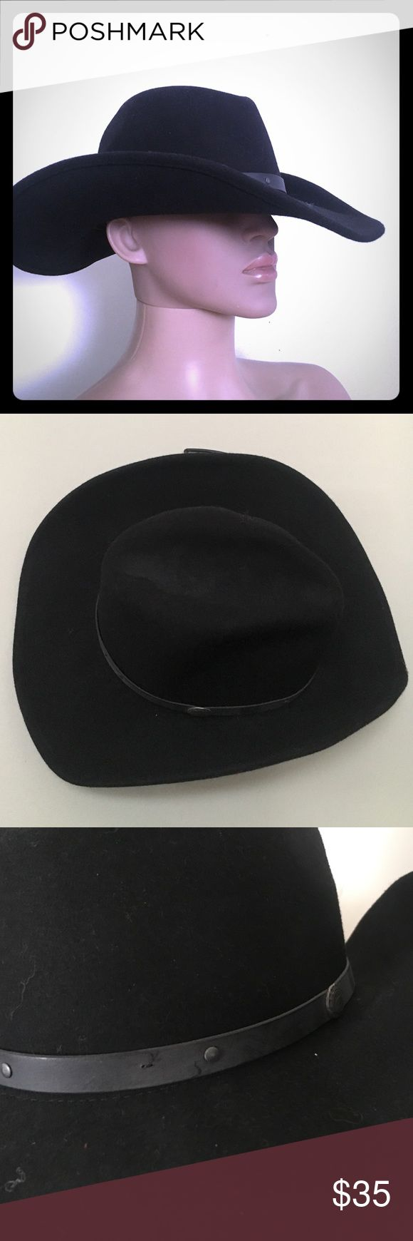 Bradley crushable water repellent cowboy hat LARGE Excellent condition and has never been worn but has been stored. Are light signs of wear only from storage but the hat is absolutely stunning! This is a unisex hat and can be worn on either a man or a woman. It is a size large with the style number WPL 4384. Made in the USA and 100% wool. Leisure felt as seen in picture for please view it with posh Mark's new image close up view.Water repellent & crushable to fit your style! Band has silver…