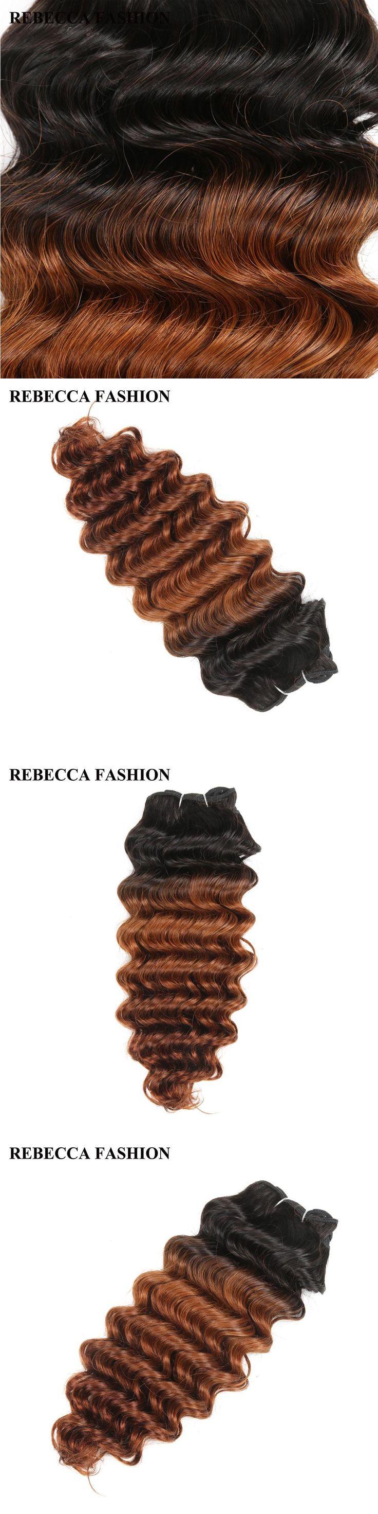 Rebecca remy Human Hair Brazilian Deep Wave Hair Weave bundles 100g  Ombre brown Salon Hair T1b30 High Ratio longest Hair PP 40%